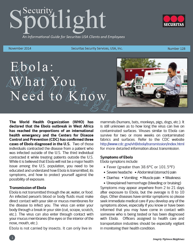 Ebola   Security Spotlight